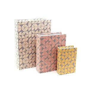 Conjunto 3 Livros Caixa Decorativos Geométricos Coloridos