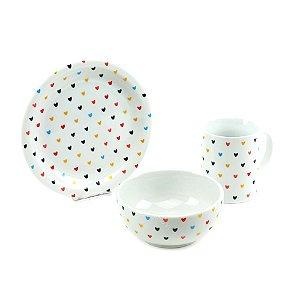 Kit Café da Manhã de Porcelana Coração