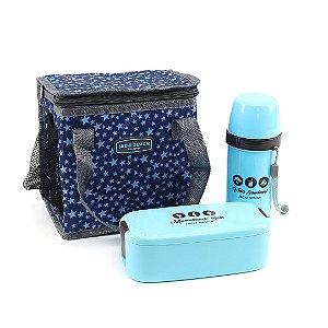 Kit 3 Peças Bolsa Marmita e Garrafa Azul Estrelas