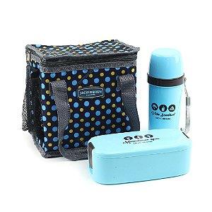 Kit 3 Peças Bolsa Marmita e Garrafa Azul Bolinhas
