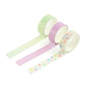 Kit 3 Fitas Adesivas Washi Tape Decoradas Coloridas Pastel Sortidas 3