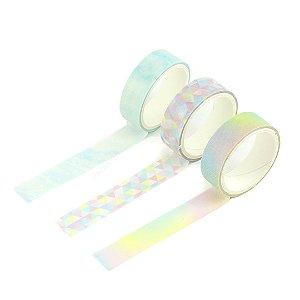 Kit 3 Fitas Adesivas Washi Tape Decoradas Coloridas Pastel Sortidas 6