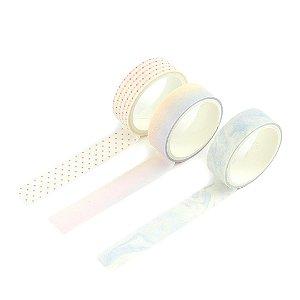 Kit 3 Fitas Adesivas Washi Tape Decoradas Coloridas Pastel Sortidas 8