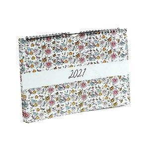 Calendário 2021 de Parede Wire-O Floral
