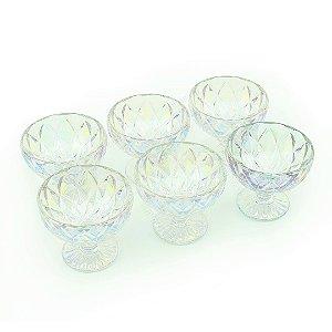 Conjunto de Taças de Vidro para Sobremesa Diamond Rainbow 6 Peças