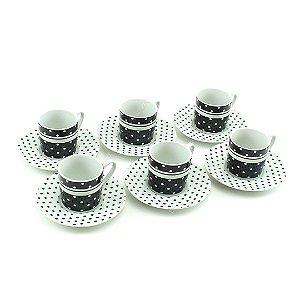 Conjunto 6 Xícaras de Porcelana com Pires Black Dots