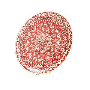 Prato de Cerâmica Grande Mandala Vermelho