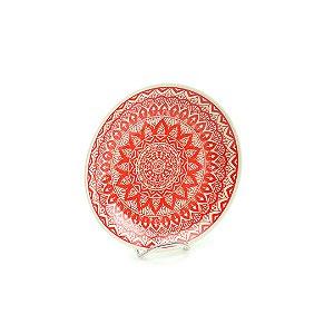 Prato de Cerâmica Pequeno Mandala Vermelho