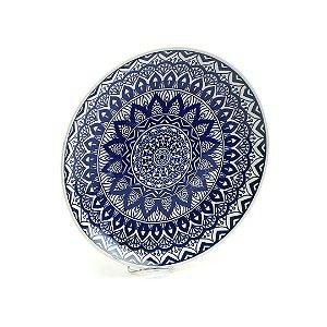 Prato de Cerâmica Grande Mandala Azul