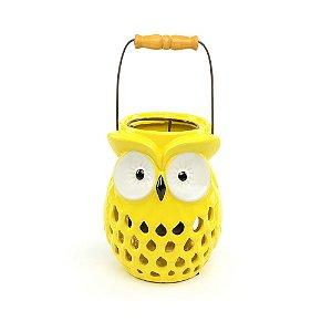 Lanterna Coruja Amarela em Cerâmica