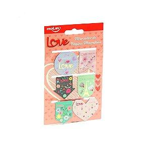 Kit Marcadores de Página Magnético Love com 6 Unidades