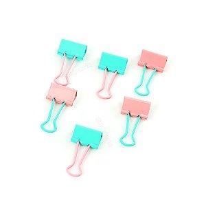 Clipes de Papel Soft Touch Rosa e Verde 25 mm com 6 Unidades