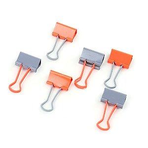 Clipes de Papel Soft Touch Cinza e Laranja 25 mm com 6 Unidades