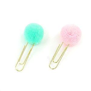 Clipes de Papel Pom Pom com 2 Unidades Verde e Rosa