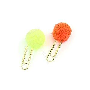 Clipes de Papel Pom Pom com 2 Unidades Laranja e Amarelo