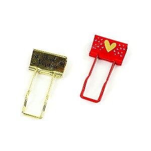 Clipes Multifuncional Love 32 mm com 2 Unidades Vermelho e Dourado