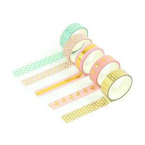 Kit Fitas Adesivas Washi Tape Love com 5 Unidades Flamingos