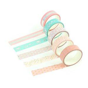Kit Fitas Adesivas Washi Tape Love com 5 Unidades Love Pug