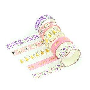 Kit Fitas Adesivas Washi Tape Love com 5 Unidades Flores e Abacaxi