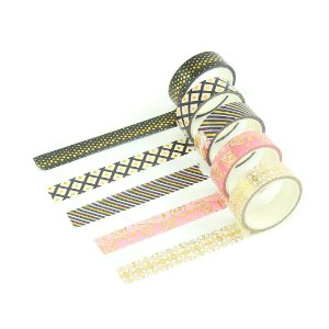Kit Fitas Adesivas Washi Tape Love com 5 Unidades Diamantes