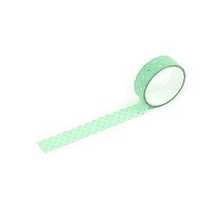 Fita Adesiva Washi Tape Love Poá Verde-Água e Dourado