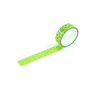 Fita Adesiva Washi Tape Love Estrela Verde e Dourado