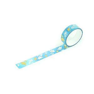 Fita Adesiva Washi Tape Love Flores Azul e Dourado