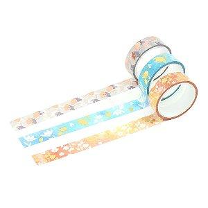 Kit Fita Adesiva Washi Tape Love com 3 Unidades Flores
