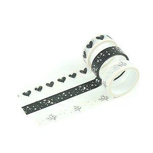 Kit Fita Adesiva Washi Tape Love com 3 Unidades Coração Preto e Branco