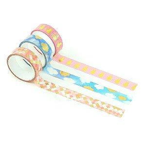 Kit Fita Adesiva Washi Tape Love com 3 Unidades Nuvem