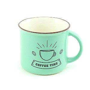 Caneca Vintage Coffee Time 350 ml Estampas Variadas Verde 1 Unidade