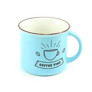 Caneca Vintage Coffee Time 350 ml Estampas Variadas Azul 1 Unidade