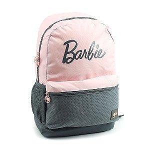 Mochila Escolar Barbie Rosa e Cinza
