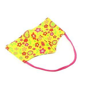 Máscara de Proteção de Algodão Modelo Bico de Pato Estampada Floral Amarela