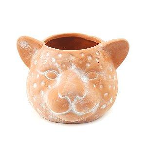 Cachepô em Cerâmica Terracota Onça