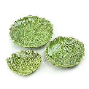 Kit Petisqueiras de Cerâmica Folha 3 Peças