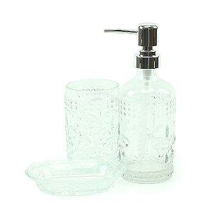 Kit de Banheiro em Vidro Flor de Lis 3 Peças