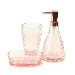 Kit de Banheiro em Vidro Elegant Rosa