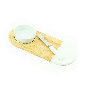 Conjunto Bandeja de Bambu com Bowl de Cerâmica e Espátula