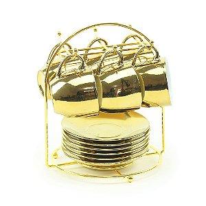 Conjunto 6 Xícaras de Porcelana Luminus Dourada