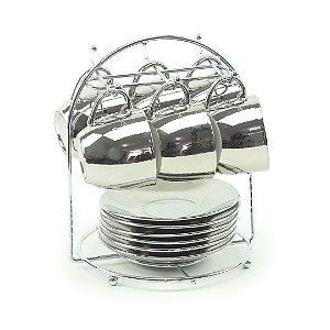 Conjunto 6 Xícaras de Porcelana Luminus Prata
