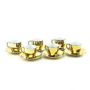 Conjunto 6 Xícaras para Café com Pires de Porcelana Luminus Dourada