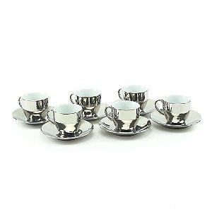 Conjunto 6 Xícaras para Café com Pires de Porcelana Luminus Prata