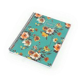Caderno Universitário 96 Folhas Femme Floral Verde Oceano