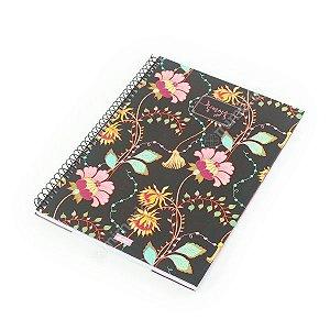 Caderno Universitário 96 Folhas Femme Floral Preto