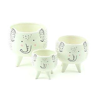 Kit Cachepôs de Cerâmica com Pés Elefante