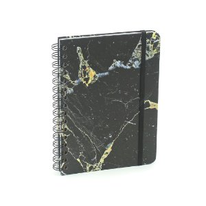 Caderno Pautado Wire-o Minerais Mármore Preto A5
