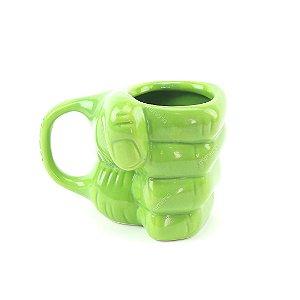 Caneca Decorativa de Porcelana 3D Avengers Hulk Mão