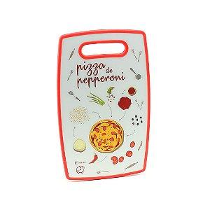 Tábua de Corte de Plástico Pizza de Pepperoni Vermelha