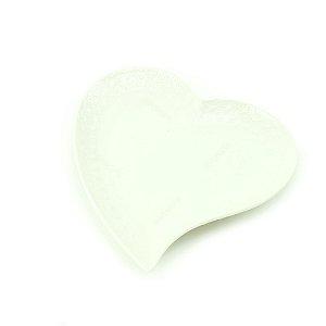 Mini Prato de Cerâmica Coração Curvado Branco